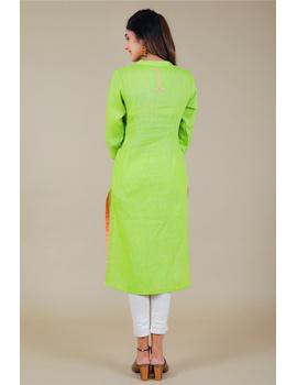 Banjara yoke kurta in mehendi green linen fabric-LK430B-S-3-sm