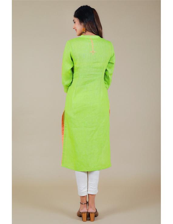 Banjara yoke kurta in mehendi green linen fabric-LK430B-S-3