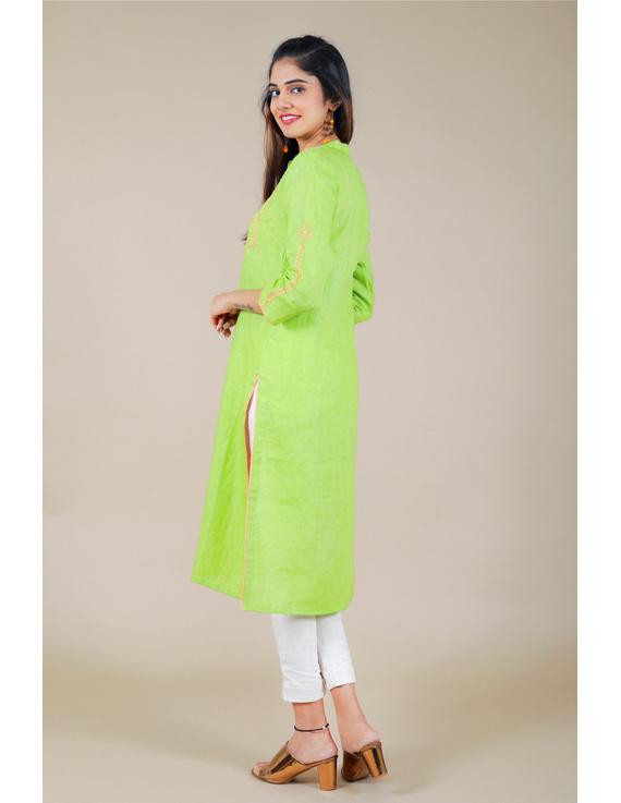 Banjara yoke kurta in mehendi green linen fabric-LK430B-S-2