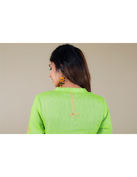 Banjara yoke kurta in mehendi green linen fabric-LK430B-S-1-sm