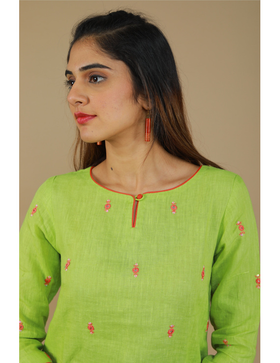 All over mirror embroidered kurta in green linen fabric-LK440A-S-3
