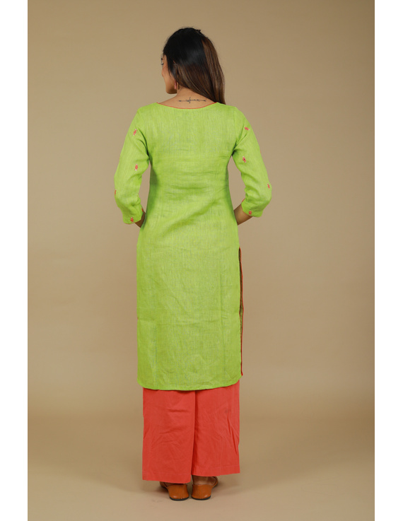 All over mirror embroidered kurta in green linen fabric-LK440A-S-2
