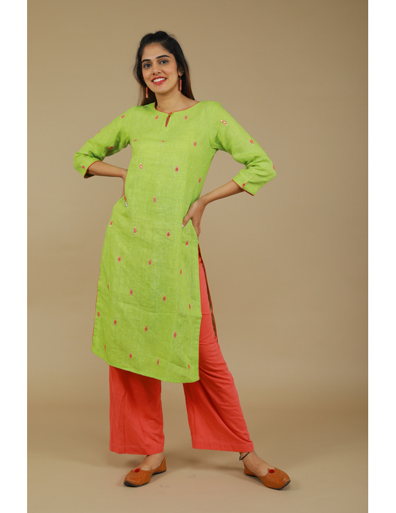 All over mirror embroidered kurta in green linen fabric-LK440A-S-1