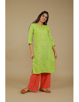 All over mirror embroidered kurta in green linen fabric-LK440A-LK440A-SL-sm