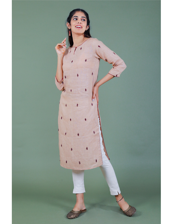 All over mirror embroidered kurta in old rose linen fabric-LK440B-M-4