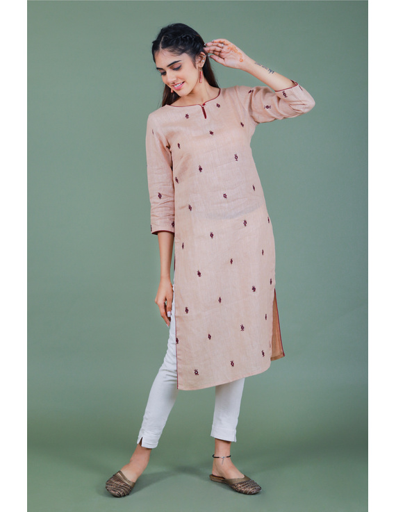 All over mirror embroidered kurta in old rose linen fabric-LK440B-M-5
