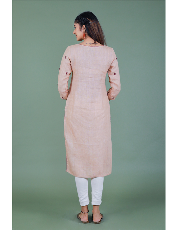 All over mirror embroidered kurta in old rose linen fabric-LK440B-M-3