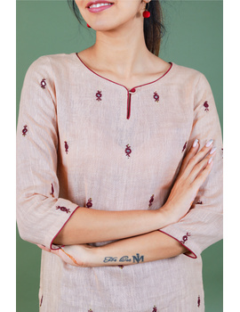 All over mirror embroidered kurta in old rose linen fabric-LK440B-M-2-sm