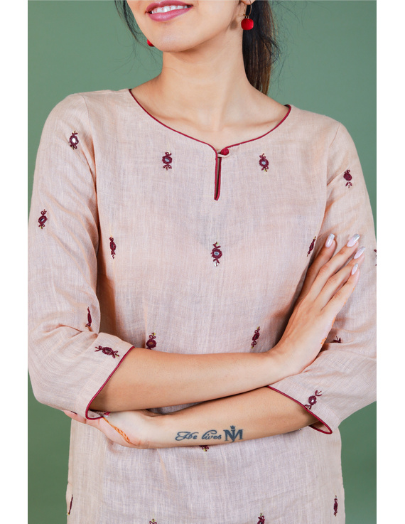 All over mirror embroidered kurta in old rose linen fabric-LK440B-M-2