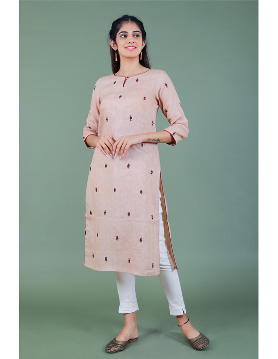 All over mirror embroidered kurta in old rose linen fabric-LK440B-M-1