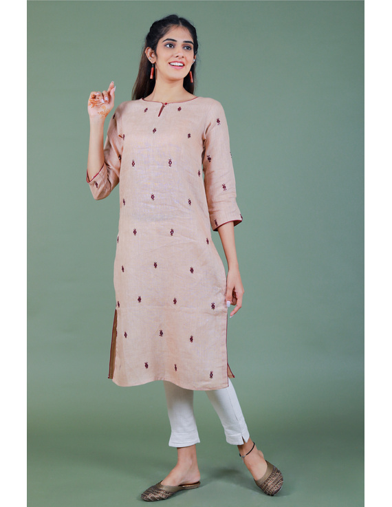 All over mirror embroidered kurta in old rose linen fabric-LK440B-LK440B-ML