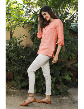CORAL EMBROIDERED PLACKET TUNIC IN PURE LINEN: LT130A-XL-3-sm