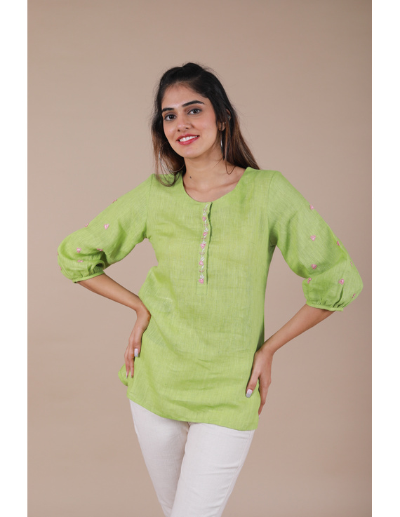 LIGHT GREEN EMBROIDERED PLACKET TUNIC IN PURE LINEN: LT130B-M-1