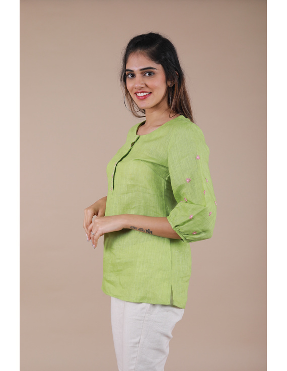 LIGHT GREEN EMBROIDERED PLACKET TUNIC IN PURE LINEN: LT130B-M-4