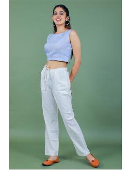 Sleeveless light blue linen blouse with back slit-RB09B-M-1-sm
