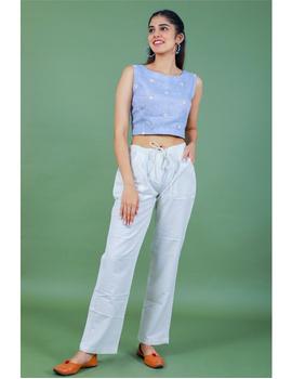 Sleeveless light blue linen blouse with back slit-RB09B-M-2-sm