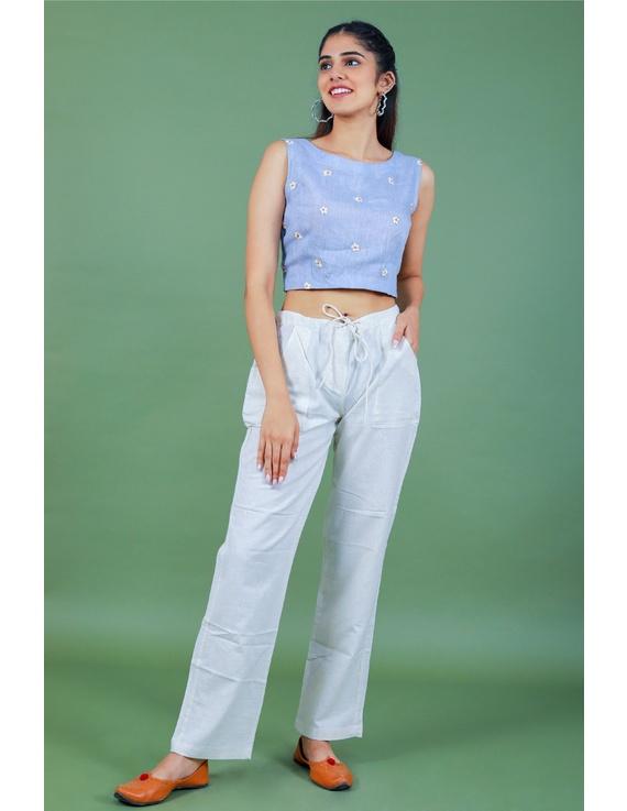 Sleeveless light blue linen blouse with back slit-RB09B-M-2