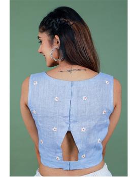 Sleeveless light blue linen blouse with back slit-RB09B-M-3-sm