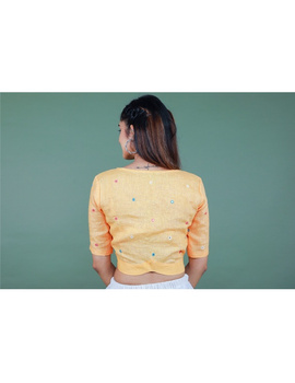 Peach linen blouse with mirror embroidery-RB09A-RB09A-LL-sm