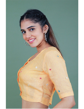 Peach linen blouse with mirror embroidery-RB09A-L-2-sm