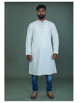 GENTS MUSLIN LONG KURTA WITH HAND EMBROIDERY : GT440A-GT440A-M-sm