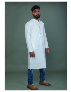 GENTS MUSLIN LONG KURTA WITH HAND EMBROIDERY : GT440A-M-1-sm