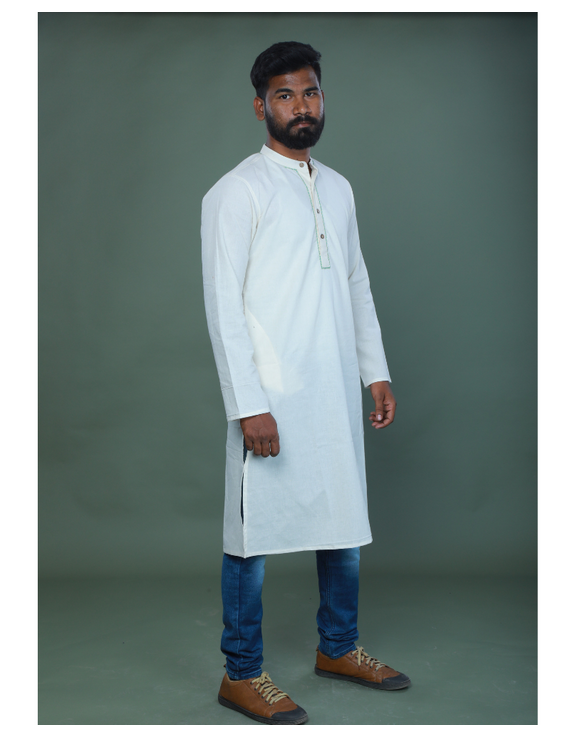 GENTS MUSLIN LONG KURTA WITH HAND EMBROIDERY : GT440A-S-1