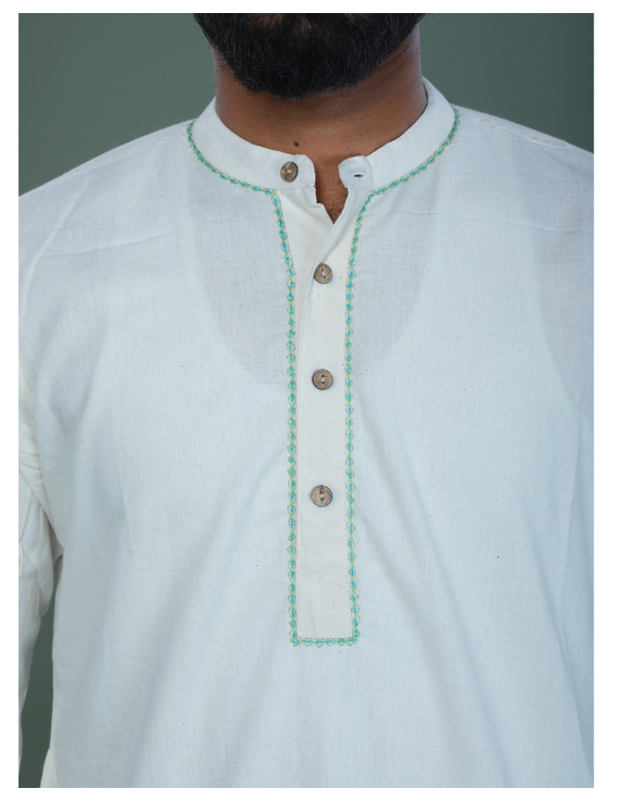 GENTS MUSLIN LONG KURTA WITH HAND EMBROIDERY : GT440A-S-3