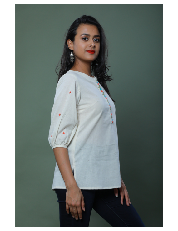 OFFWHITE TUNIC WITH EMBROIDERED PLACKET: LT130C-M-1