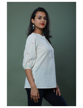 OFFWHITE TUNIC WITH EMBROIDERED PLACKET: LT130C-S-1-sm