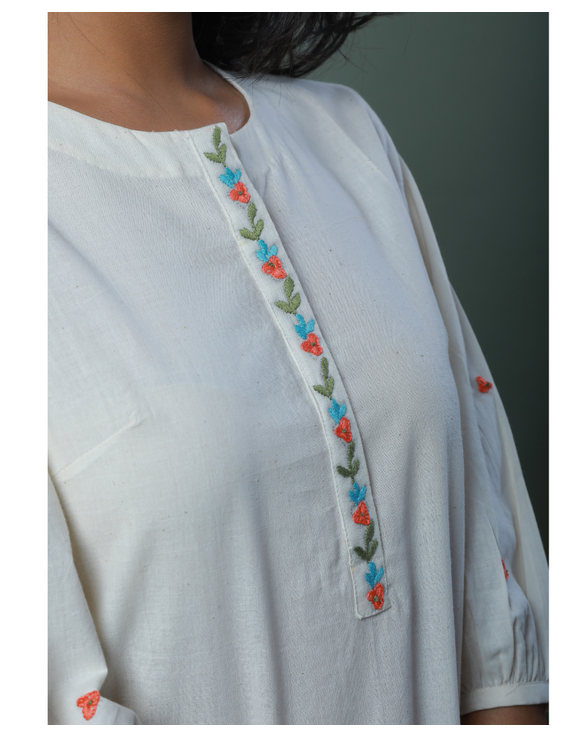 OFFWHITE TUNIC WITH EMBROIDERED PLACKET: LT130C-S-3