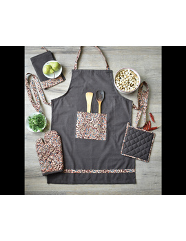 Apron, oven glove and pot holder set in brown cotton with kalamkari: HKL01A-5-sm
