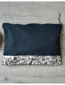 Apron, oven glove and pot holder set in black cotton with kalamkari: HKL01B-5-sm
