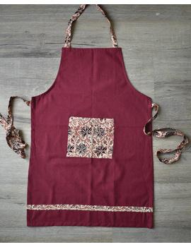 Apron, oven glove and pot holder set in maroon cotton with kalamkari: HKL01C-1-sm