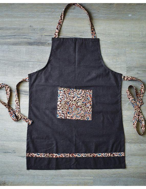 Apron, oven glove and pot holder set in brown cotton with kalamkari: HKL01A-1