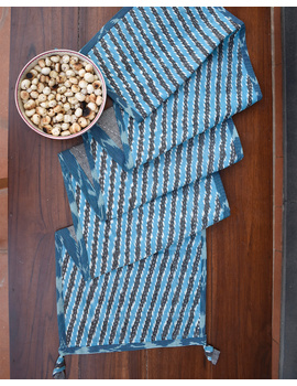 Blue And Grey Ikat Reversible Table Runner With Kantha Embroidery : HTR04-13 x 72-4-sm