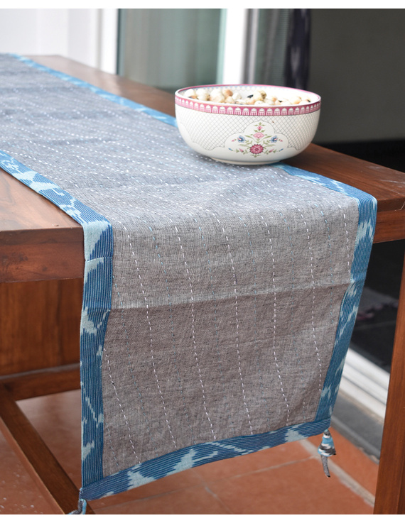Blue And Grey Ikat Reversible Table Runner With Kantha Embroidery : HTR04-HTR04M