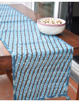 Blue And Grey Ikat Reversible Table Runner With Kantha Embroidery : HTR04-13 X 60-1-sm