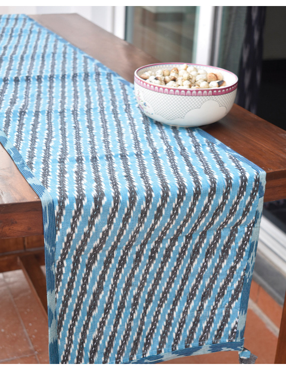 Blue And Grey Ikat Reversible Table Runner With Kantha Embroidery : HTR04-13 X 60-1