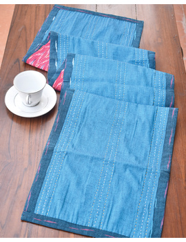 Blue And Pink Reversible Ikat Table Runners : HTR01-13 x 72-3-sm