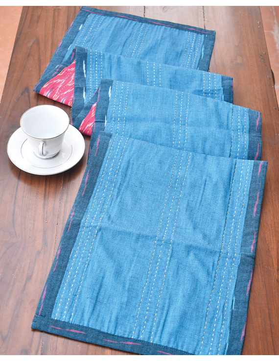 Blue And Pink Reversible Ikat Table Runners : HTR01-13 x 72-3