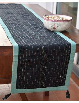 Green And Black Ikat Reversible Table Runner : HTR02-13 x 72-1-sm
