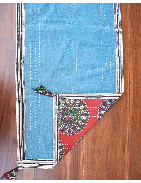 Red And Blue Embroidered Reversible Table Runner : HTR03-13 x 60-2