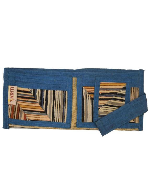 Blue stripe unisex wallet broad : WLU03-2
