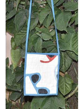 Blue and white Mangalgiri sling bag : SBD05-1-sm