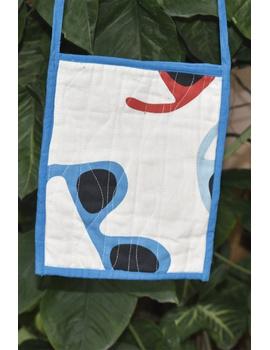 Blue and white Mangalgiri sling bag : SBD05-2-sm