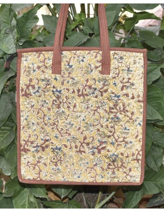 Kalamakari quilted tote bag - large - brown -TBKL05-2