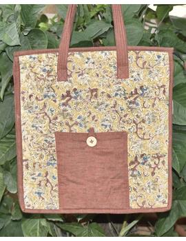 Kalamakari quilted tote bag - large - brown -TBKL05-TBKL05-sm