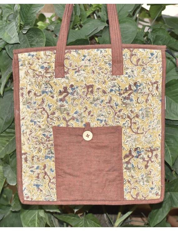Kalamakari quilted tote bag - large - brown -TBKL05-TBKL05
