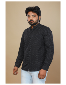 Black ikat mandarin collar full sleeves shirt for men: GT410E-GT410E-XL-sm